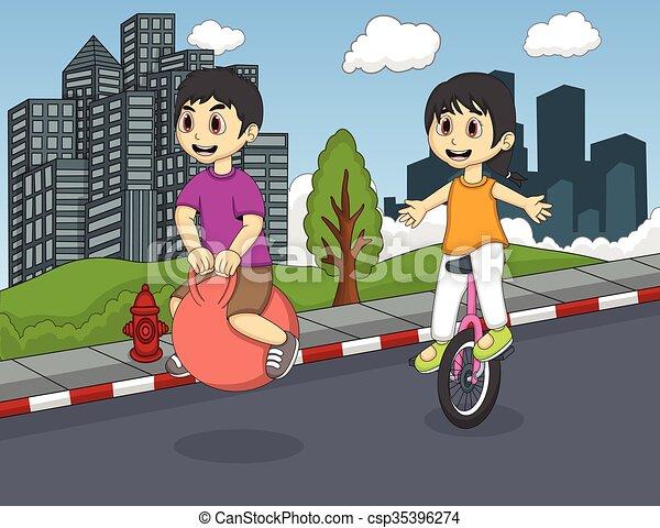 Pelota Robusta Ninos Jugar Pelota Botar Ninos Calle Unicycle