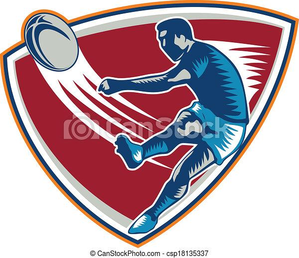 Jugador de rugby pateando el escudo de madera - csp18135337