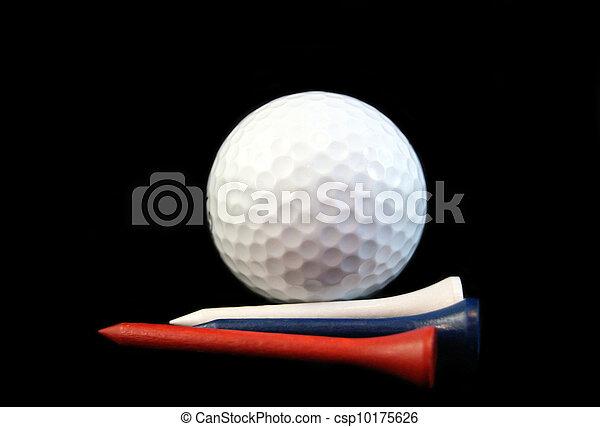 Bola de golf con tee - csp10175626