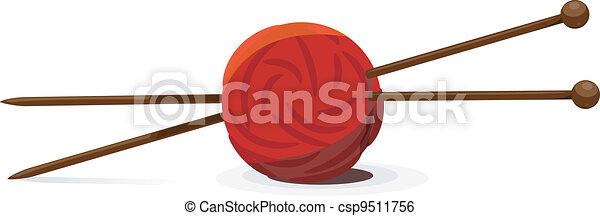 pelota, tejido de punto, ilustración, vector, agujas, lana - csp9511756