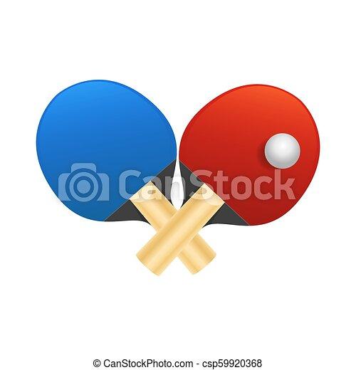 Raquetas de tenis de mesa con ilustración de vectores de pelota en fondo blanco - csp59920368