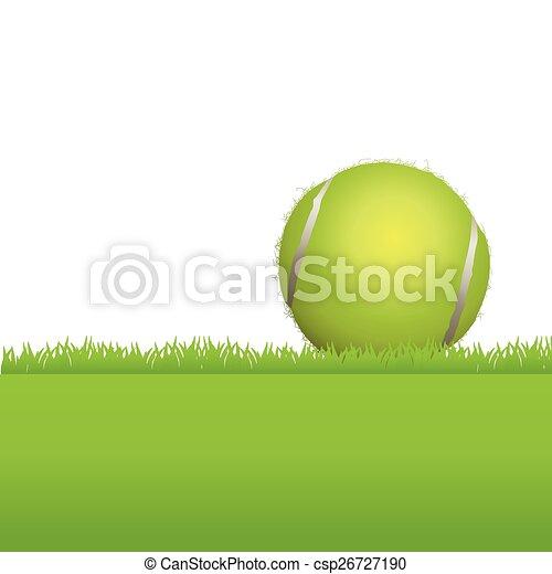 Bola de tenis en el fondo de la hierba - csp26727190