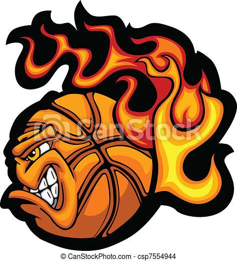 Bola de Basket en llamas cara de vecto - csp7554944