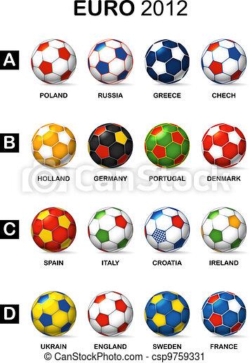 Clip art vectorial de pelotas color nacional equipos ftbol