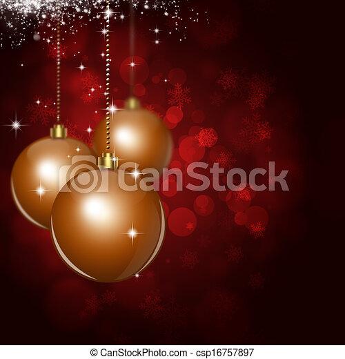 Bolas de Navidad, fondo rojo de celebración - csp16757897
