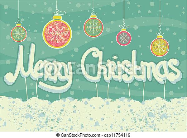 Tarjeta de Navidad abstracta en antecedentes de nieve con pelotas y texto - csp11754119