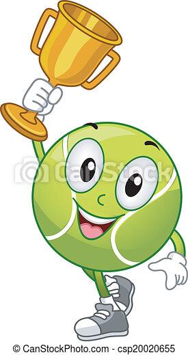 pelouse, boule tennis, mascotte - csp20020655