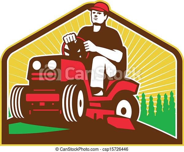 pelouse, cavalcade, faucheur, retro, landscaper, jardinier - csp15726446
