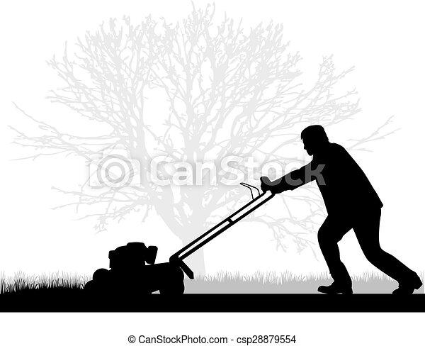 pelouse fauchant, homme - csp28879554