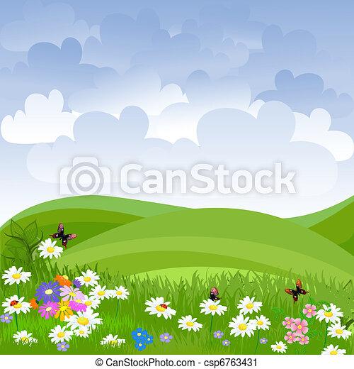 pelouse, fleurs, paysage - csp6763431