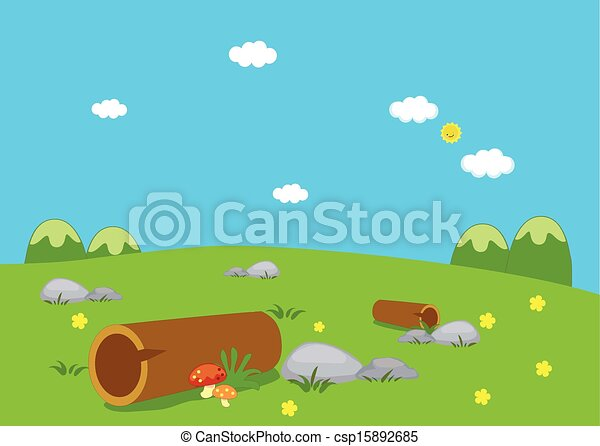 pelouse, fleurs, paysage - csp15892685