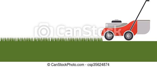 pelouse, isolé, faucheur, découpage, fond, herbe - csp35624874