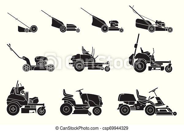 pelouse, jardinage, faucheurs, isolé, illustration, arrière-plan., grass., vecteur, divers, grass-cutter., fauché, blanc, types - csp69944329