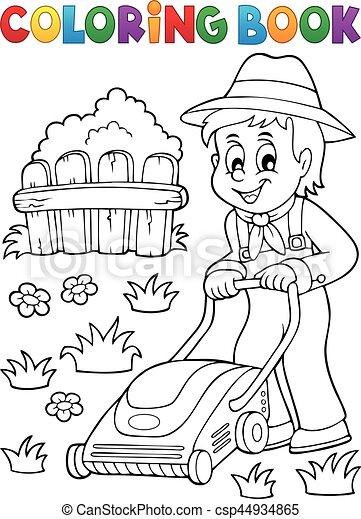 pelouse, livre coloration, jardinier, faucheur - csp44934865