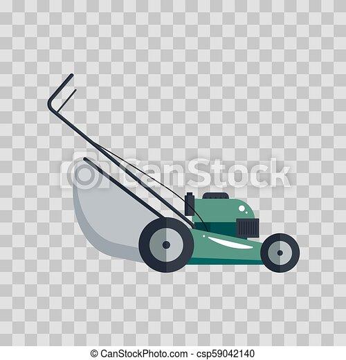 pelouse, outillage, jardinage, illustration., -, faucheur, machine, équipement, vecteur, fond, technologie, transparent, grass-cutter, icône - csp59042140