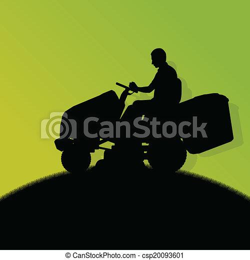 pelouse, résumé, illustration, faucheur, champ, découpage, vecteur, tracteur, fond, herbe, paysage, homme - csp20093601