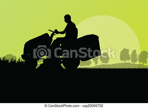 pelouse, résumé, illustration, faucheur, champ, découpage, vecteur, tracteur, fond, herbe, paysage, homme - csp20093702