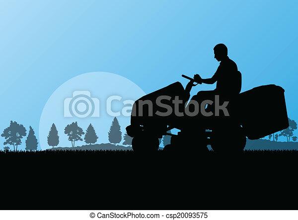 pelouse, résumé, illustration, faucheur, champ, découpage, vecteur, tracteur, fond, herbe, paysage, homme - csp20093575