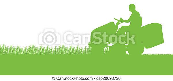 pelouse, résumé, illustration, faucheur, champ, découpage, tracteur, fond, herbe, paysage, homme - csp20093736