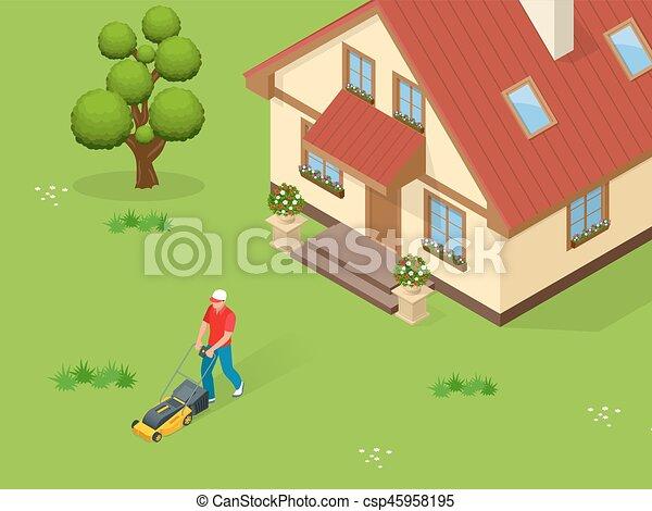 pelouse, service, fauchage, concept., isométrique, jaune, faucheur, summertime., vecteur, illustration, herbe, homme - csp45958195