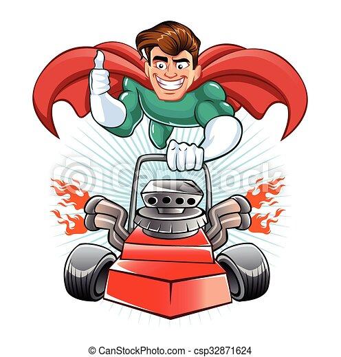 pelouse, superhero, dessin animé, faucheur - csp32871624