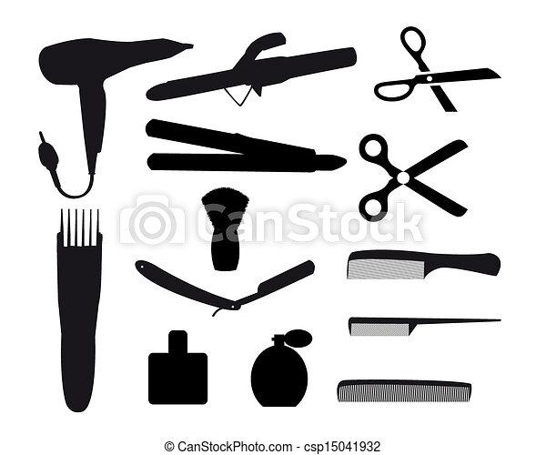 Grficos vectoriales de peluquero herramientas en un fondo