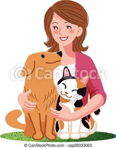 Eine Frau, die mit pelzigen Freunden lächelt - csp28333063