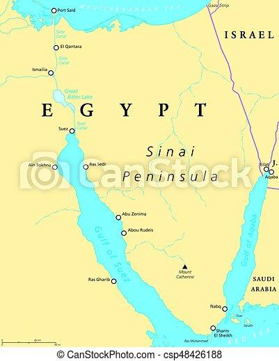 Canal De Suez Mapa Fisico Africa.Egipto El Mapa Politico De La Peninsula De Sinai Situado