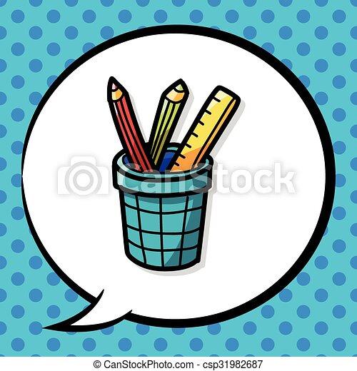 pen and pencil color doodle - csp31982687