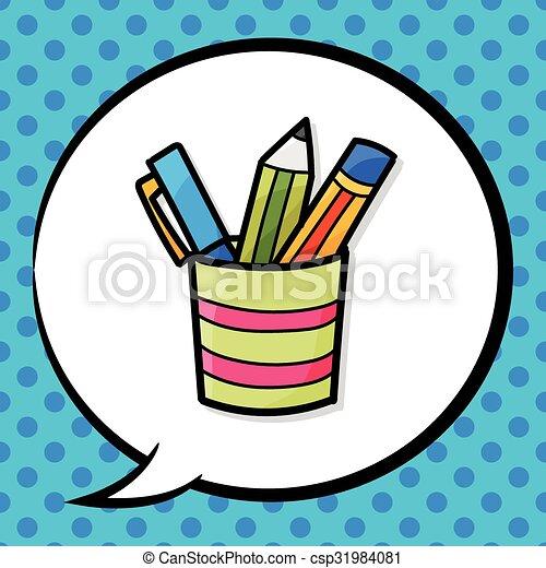 pen and pencil color doodle - csp31984081