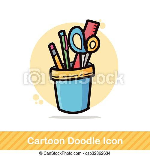 pen and pencil color doodle - csp32362634