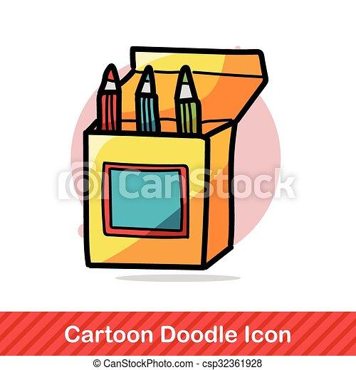 pen and pencil color doodle - csp32361928