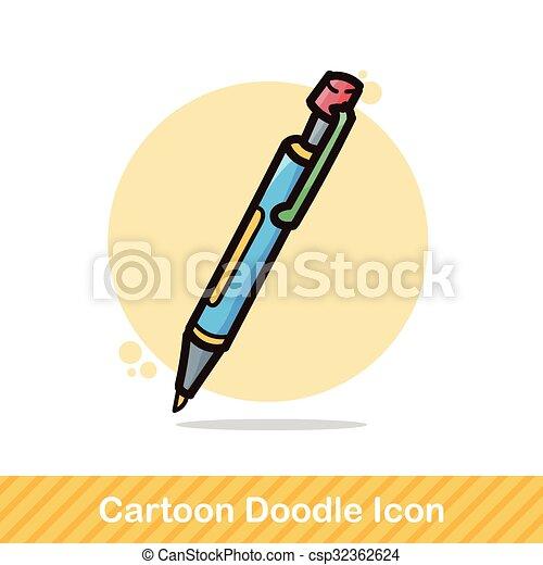 pen and pencil color doodle - csp32362624