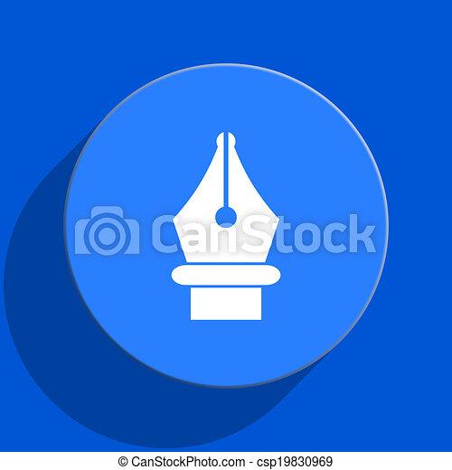 pen blue web flat icon - csp19830969