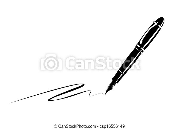 monochrome illustration of an old fountain pen drawing search clip rh canstockphoto com fountain pen clipart free