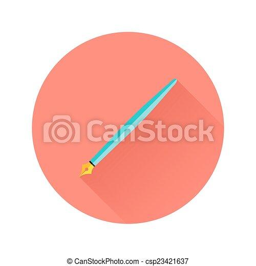 Pen Flat Circle Icon - csp23421637