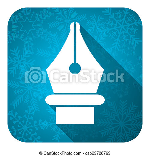 pen flat icon, christmas button - csp23728763