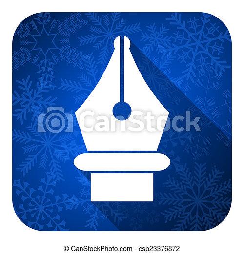pen flat icon, christmas button - csp23376872