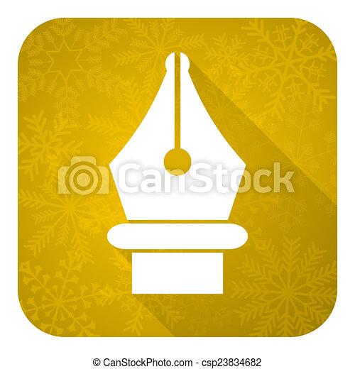 pen flat icon, gold christmas button - csp23834682