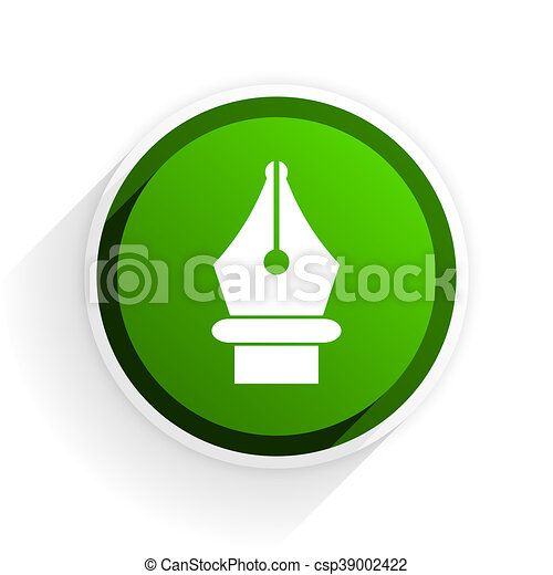 pen flat icon with shadow on white background, green modern design web element - csp39002422