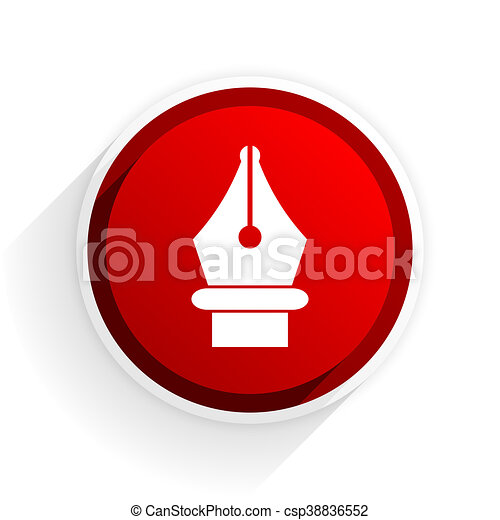 pen flat icon with shadow on white background, red modern design web element - csp38836552