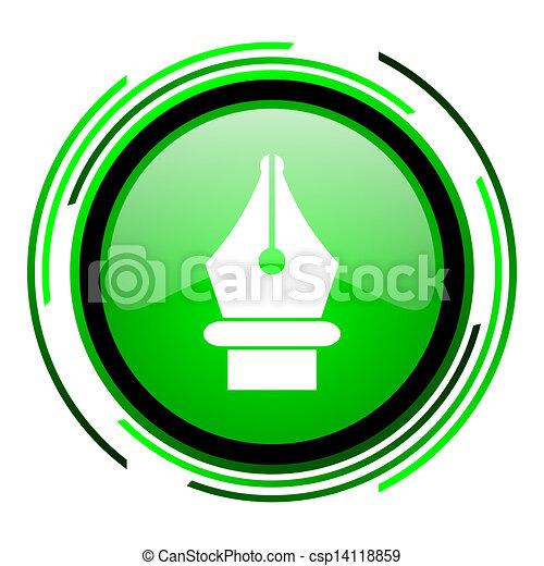 pen green circle glossy icon - csp14118859