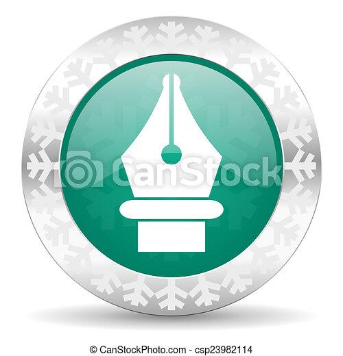 pen green icon, christmas button - csp23982114