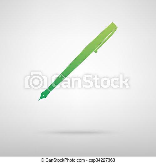 Pen green icon - csp34227363