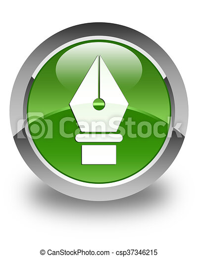 Pen icon glossy soft green round button - csp37346215