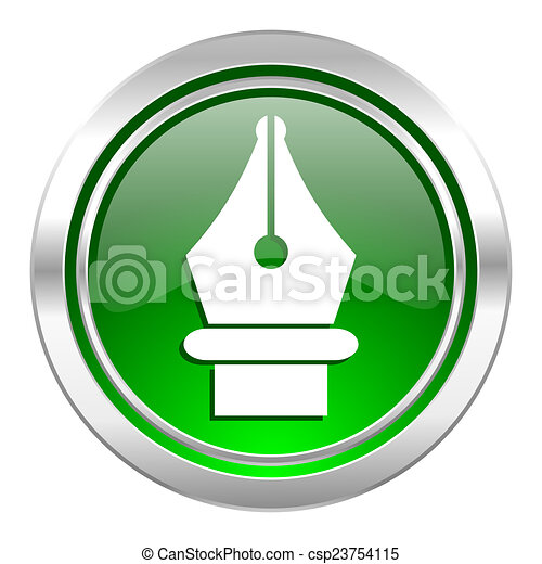 pen icon, green button - csp23754115