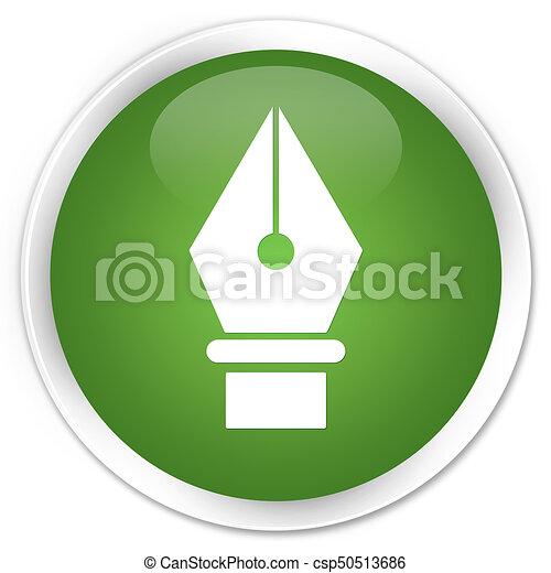 Pen icon premium soft green round button - csp50513686