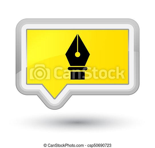 Pen icon prime yellow banner button - csp50690723