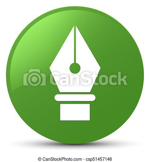 Pen icon soft green round button - csp51457146