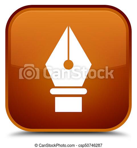 Pen icon special brown square button - csp50746287